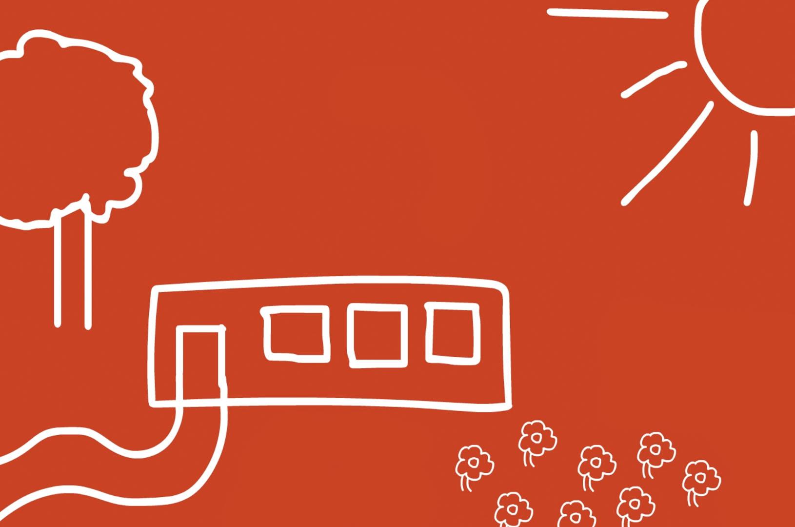 Illustration av moduler i rött och vitt